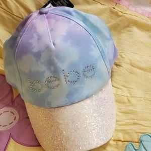 2for$25 BEBE Girls sparkly pastel crystal logo hat